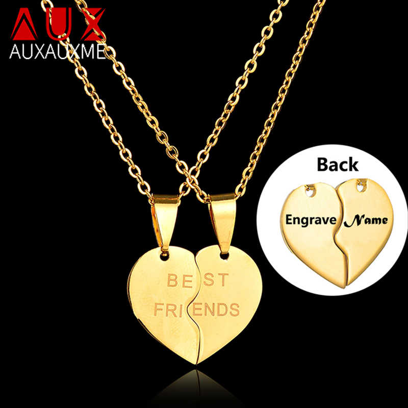 Auxauxme 1 Pair Engrave Name date ID Heart Neckace Stainless Steel Best Friend Necklaces For Friends Birthday Anniversary Gift