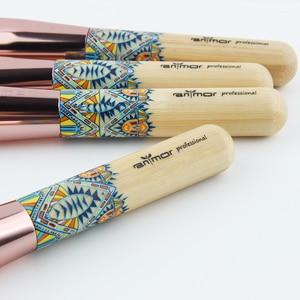 Image 3 - Anmor Makyaj Fırçalar 12 ADET Set Bambu Makyaj Fırça Yumuşak Sentetik Vakfı Pudra Kontur Göz Farı Kaş Kozmetik Araçları