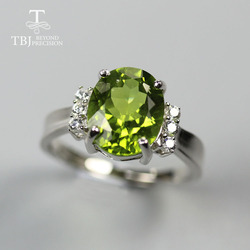 TBJ 2020 china Peridot Ring oval 9*11mm 3.9ct natural green gemtone fine jewelry 925 sterling siver for women nice gift
