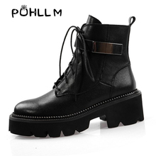 PUHLLM 2019 New Winter Buckle Motorcycle boots women british Ankle gothic punk low heel ankle plus size 42 Boot F16
