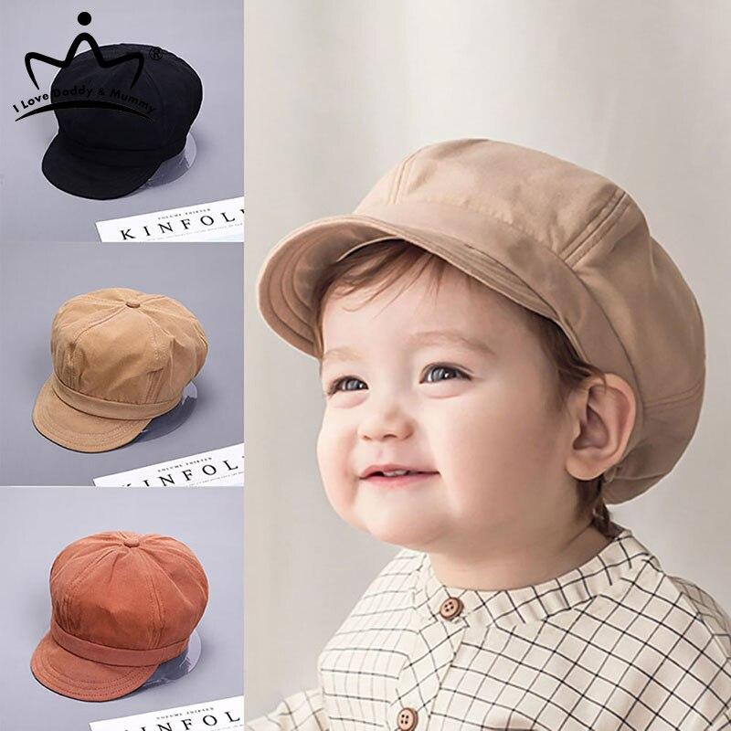 Chapeau de bébé pour enfants, chapeau avec lettres brodées, béret, couleur unie, Vintage, octogonale, casquette de Baseball, pour garçon et fille, automne