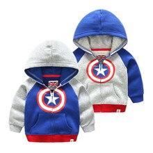 """Кофты с капюшоном """"Marvel"""" Одежда для маленьких мальчиков и девочек Капитан Америка толстовка с капюшоном Толстовки с капюшоном на молнии для детей Мстители верхняя одежда"""