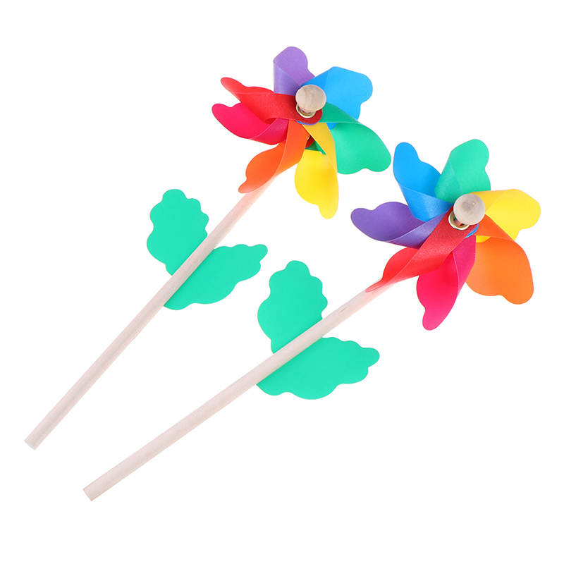 Colorful wood windmill garden party 7 leaves wind spinner ornament kids toys