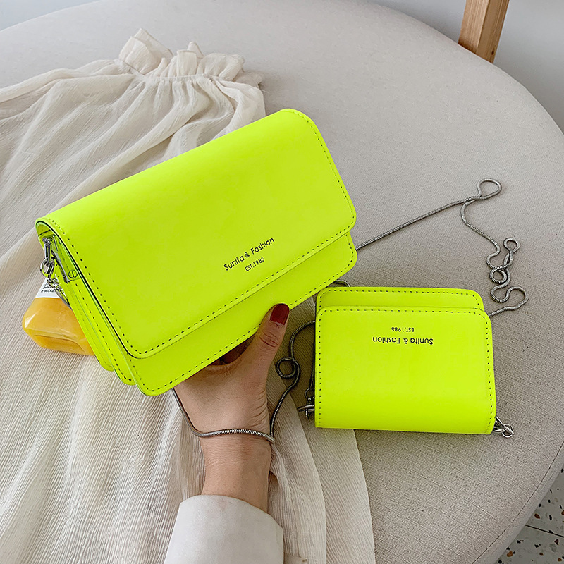 Crossbody Bags for Women Neon Yellow Pink Mini Leather Lady Travel purses and handbags Chain shoulder bag Messenger Bag