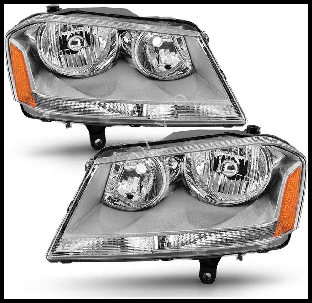Sulinso For Headlight Assembly Compatible With 2008-2014 Dodge Avenger Halogen SE/SXT Models Driver Side(2PCS)