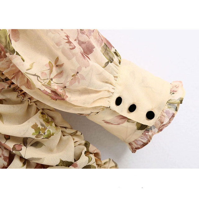 High Quality Women 2021 Fashion Floral Print Ruffled Draped Mini Dress Vintage Lantern Sleeve Back Zipper Female Dresses Vestido 5