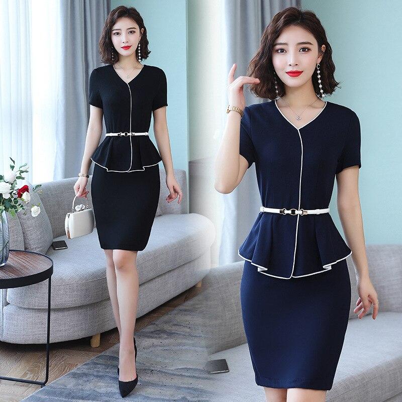 Summer New Style Ol Elegant Business Dress Women's 2019 Summer Wear New Style V-neck Waist Hugging Slim Fit Short Sleeve Skirt