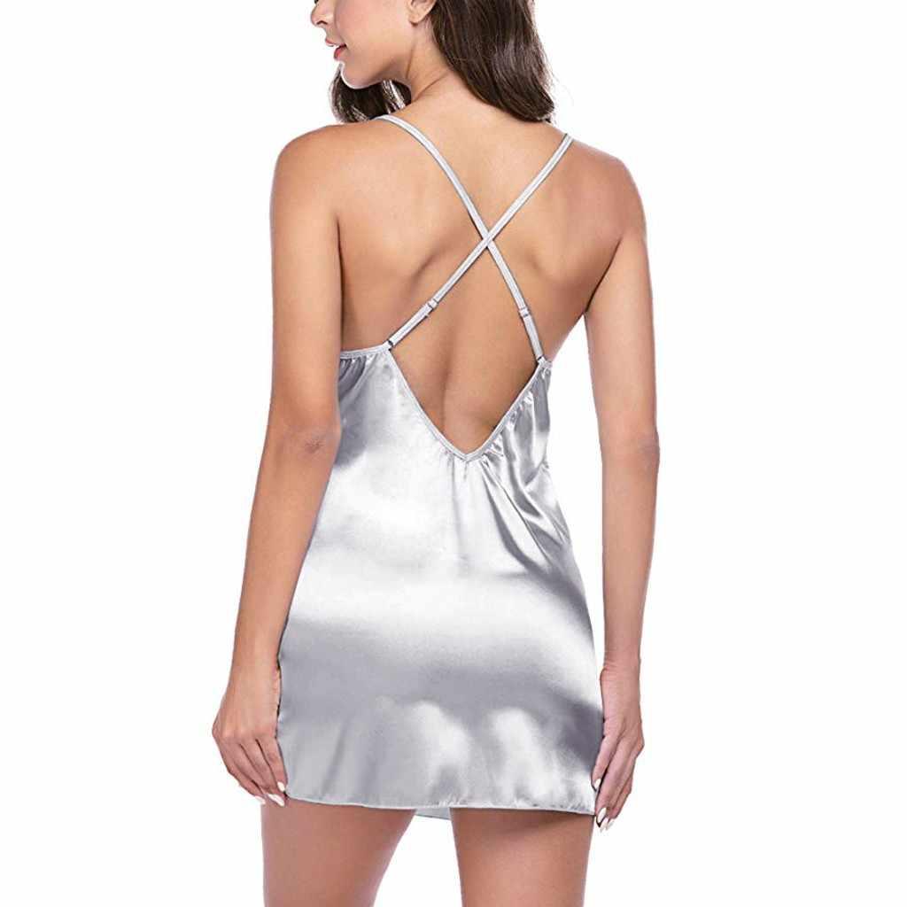 Kadınlar seksi Pijama Pijama v yaka iç çamaşırı ipek saten gecelik Babydoll iç çamaşırı gecelik kadın iç çamaşırı Pijama Mujer # D