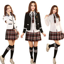 Costume d'étudiant de Cosplay d'anime japonais et coréen, uniforme d'école de Style britannique, Costume d'affaires avec cravate de chemise et Mini-jupe, nouvelle collection