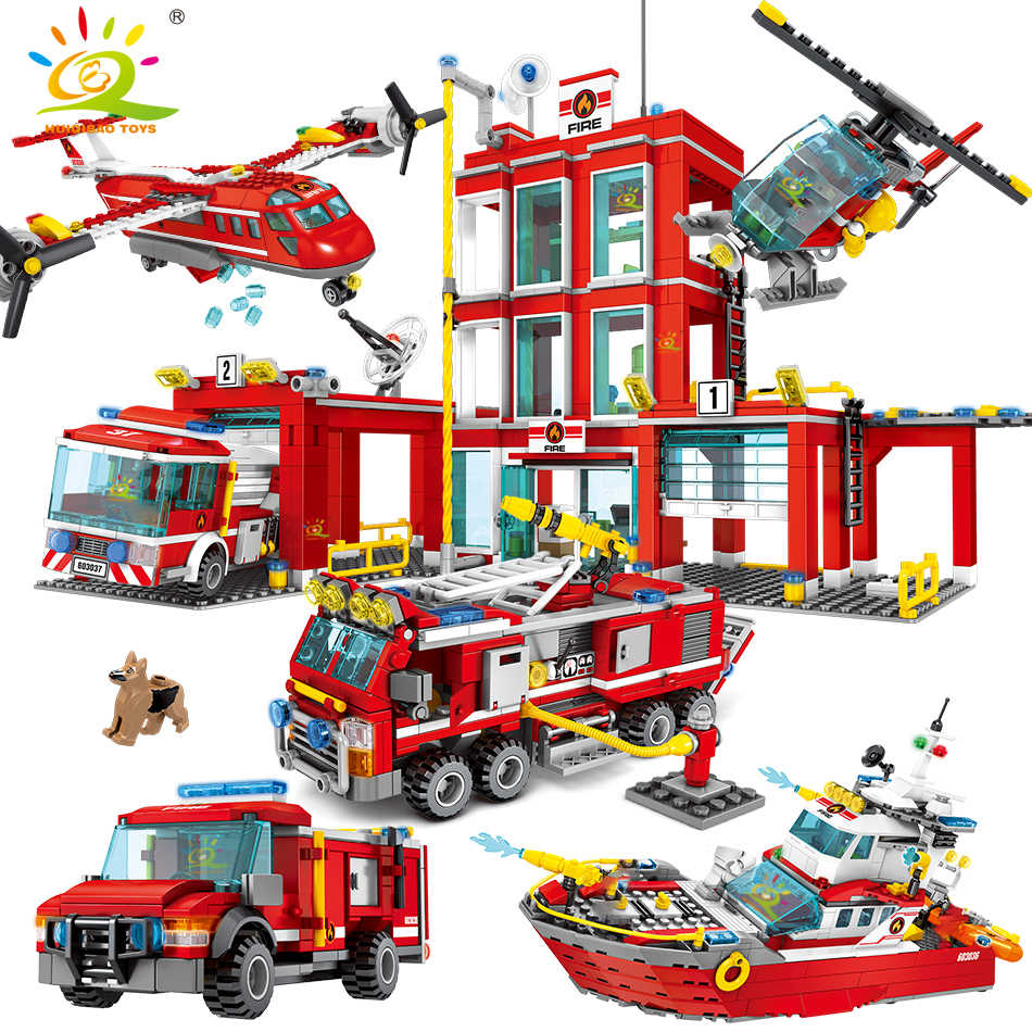Fire station Building Blocks Compatible legoingly city Truck Helicopter boat car firefighter Bricks Educational Children Toys