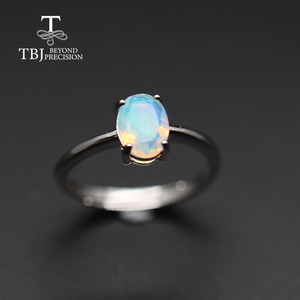 Image 2 - Simple  Opal women Ring Natural Ethiopia oval 6*8mm 1carat gemstone 925 Sterling silver  yellow gold fine jewelry tbj promotion