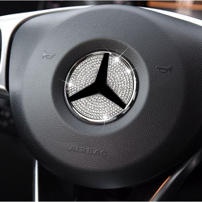 Car Steering Wheel Emblem 3D Rhinestone Logo Sticker With Diamond Decoration For Mercede Benz A B C E GLA CLA GLC GLK GLE series