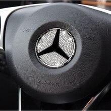Emblema para volante de coche, 3D pegatina con logotipo de diamantes, decoración de diamante para Mercedes Benz Serie A/B/C/E/GLA/CLA/GLC/GLK/GLE