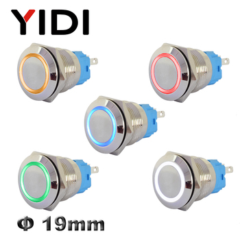 19mm Metal Push Button Switch Stainless Steel Brass Switch Latching 12V 220V Red Green LED Switch Pushbutton Momentary On Off 10pcs white red green blue black yellow panel mount 10mm momentary off on push button switch upper screw thread