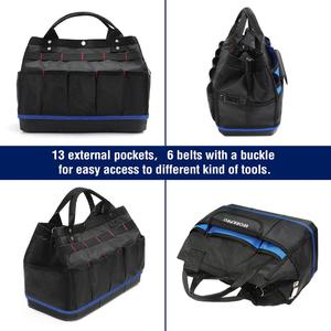 "Image 2 - WORKPRO 15"" Tool Storage Bag Wide Mouth tool kit bag 1680D Waterproof large capacity tool organizer"