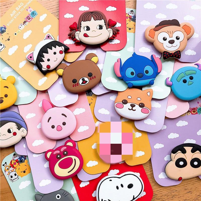 Universal Mobile Phone Stand Gasbag Bracket Expanding Finger Phone Holder Cartoon Sakura Momoko Stitch For Xiaomi