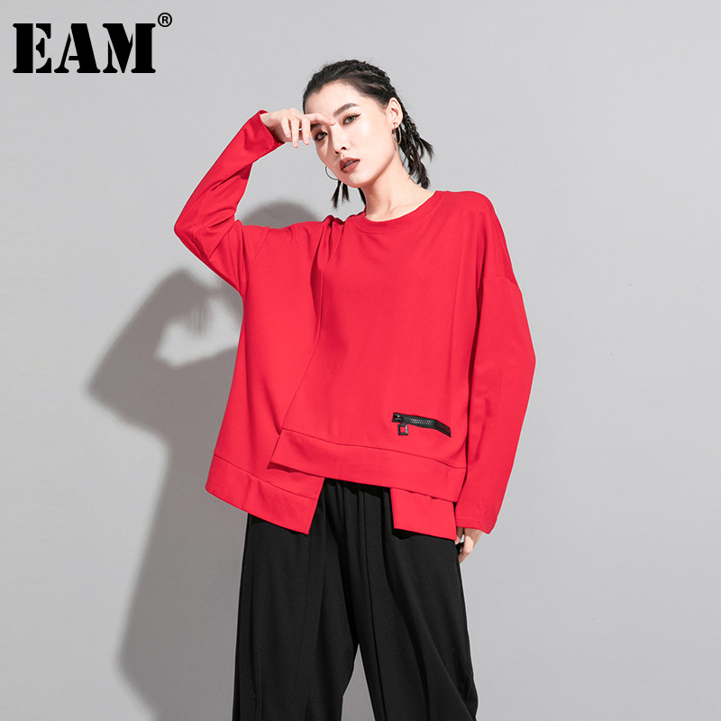 [EAM] Women Red Irregular Split Joint Big Size T-shirt New Round Neck Long Sleeve  Fashion Tide  Spring Autumn 2020 1DA605 1