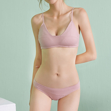 High Quality Stripes Cotton Lingerie Set Fashion Women Underwear Sexy Bra for Girls Teens Sets Push Up Pink