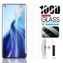 100D كامل منحني UV الغراء الكامل الزجاج المقسى ل شاومي Xiomi Xaomi Xiami Mi11 Mi 11 الترا 11 الترا شاشة حماة الكاميرا فيلم