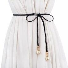 Black Bohemian Thin PU Leather Sash Belt Imitation Pearl Pendant Tassel Lace Up Bow Dress Gown Sweater Trench Coat Shirt Sashes