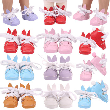 Doll Shoes 5 Cm Cute Rabbit Canvas Cartoon Shoes For 14.5 Inch Nancy American Doll&BJD EXO Doll Boots Doll Generation Girl`s Toy image