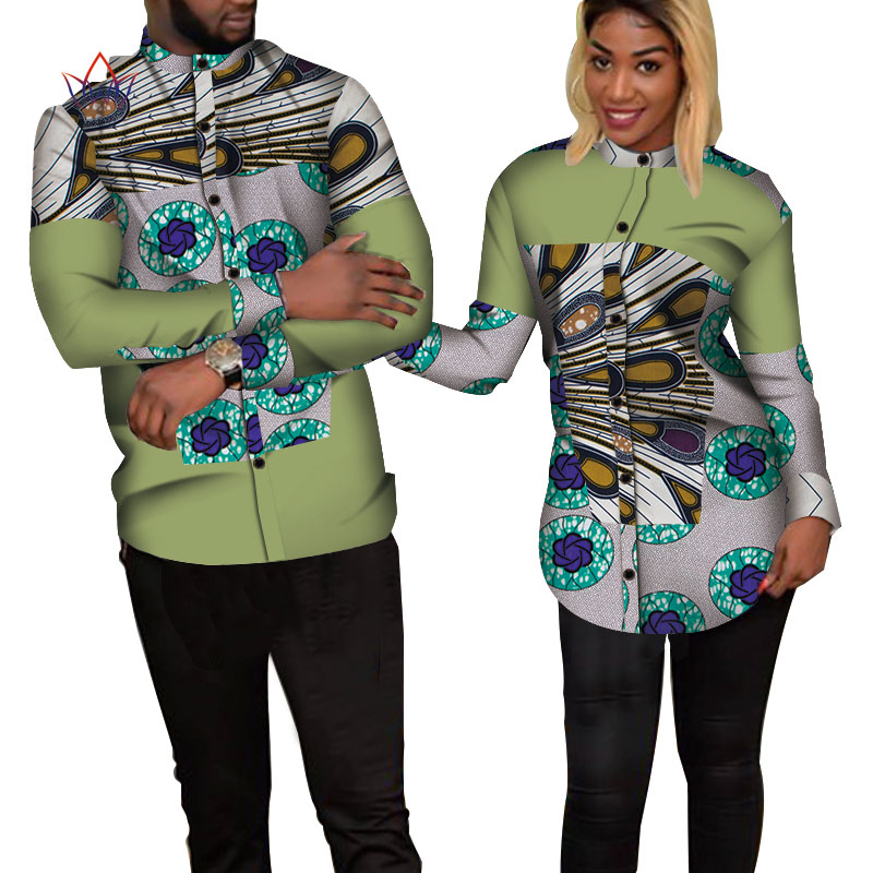 Bazin Riche Couples Clothes Women And Men Patchwork Print Shirt African Clothes For Lovers Traditional African Clothing WYQ235