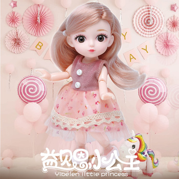 16cm Mini Bjd Doll 12 Moveable Joints 1/12 Girls Dress 3D Eyes Toy with Clothes Shoes Kids Toys for Girls Children Birthday Gift 1