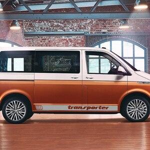 Image 4 - 2 pçs listras laterais do carro adesivos auto vinil filme decoração decalques para volkswagen multivan t4 t5 t6 estilo do carro tuning acessórios