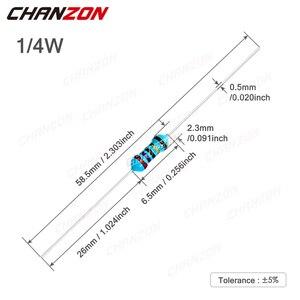 100 шт. 1/4 Вт 1% Металлические пленочные резисторы 1 Ом-4,7 м ом 1/4 Вт 0,25 Вт Высокоточный MF фиксированное сопротивление 100 220 330 1K 10K 300K