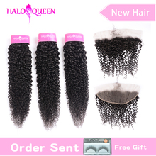 NY hair Kinky Curly 3 bundles with 13*4 frontal remy Brazilian closure human