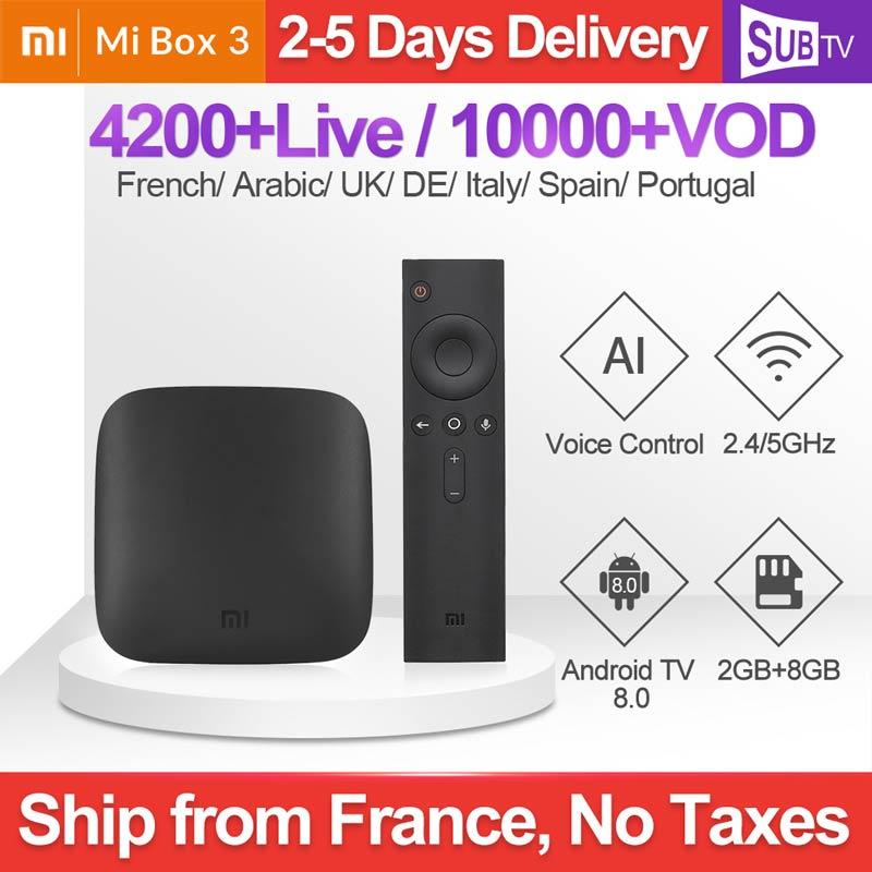 4K IPTV France Box Mi Box 3 4K Android 8.1 2G 8G avec SUBTV IPTV Code 1 an Full HD arabe français Portugal espagnol suède IP TV