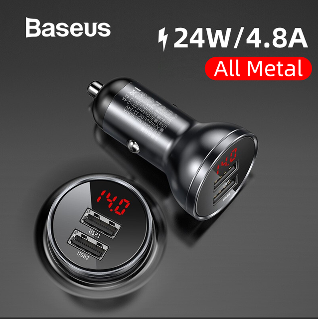 Baseus 24W 4.8A Dual USB Car Charger With LED Display