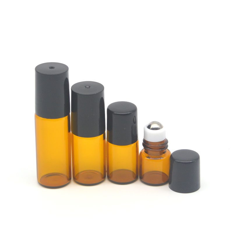5pcs 1ml 2ml 3ml 5ml Amber Glass Roller Bottles Fragrance Perfume Essential Oil Empty Vial 10ml Roll On Bottle