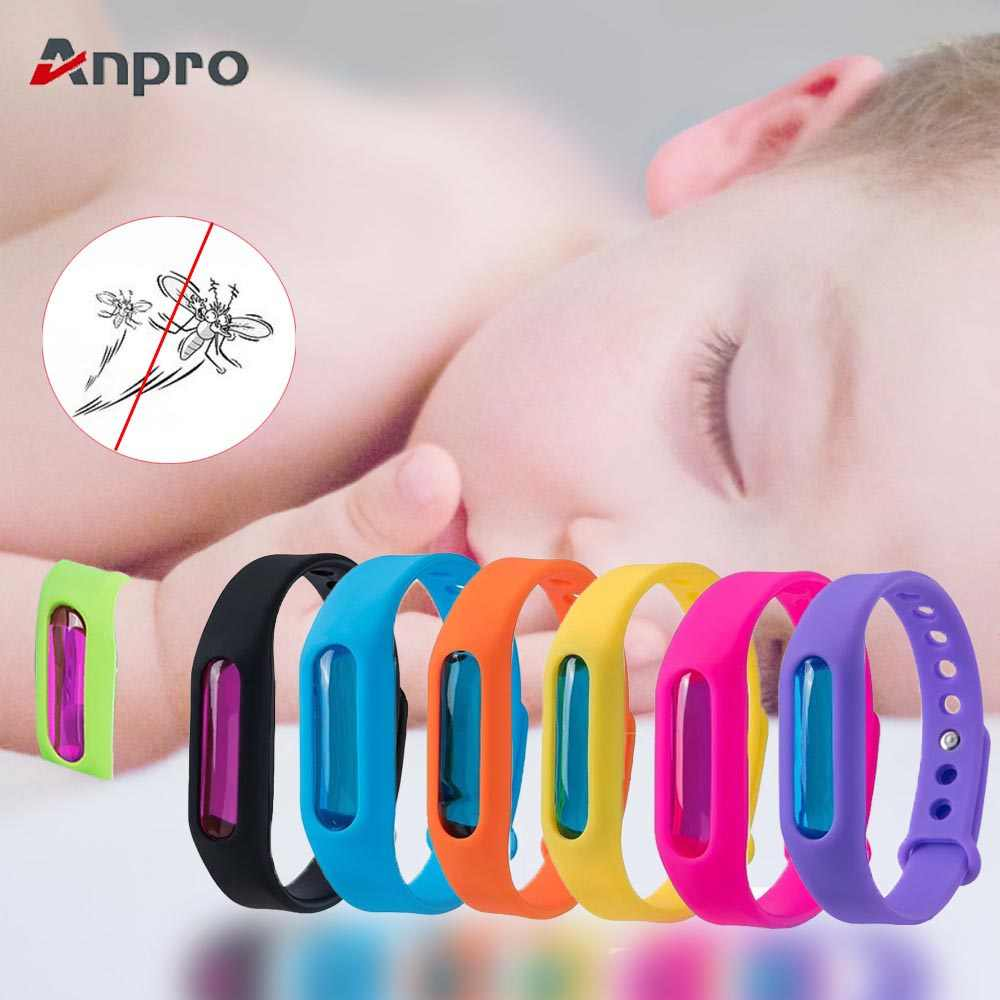 Anpro 8Pcs/set Silicone Wristband for Baby Skin Care Anti-mosquito Summer Mosquito Repellent Bracelet Summer Anti Mosquito Band