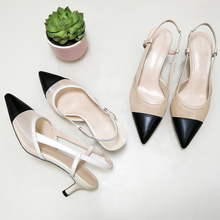 Meotina Women Natural Genuine Leather Shoes Slingbacks High Heels Pointed Toe Cutout Sandals Shoes Ladies Beige Large Size 42 43 meotina sandals women cross strap high heel shoes pointed toe stiletto heels dress ladies sandals summer black large size 43