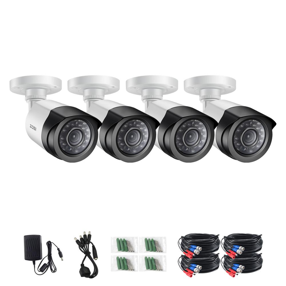 ZOSI 4pcs/lot 1080P HD-TVI 2MP CCTV Security Camera ,65ft Night Vision ,Outdoor Whetherproof Bullet Surveillance Camera Kit