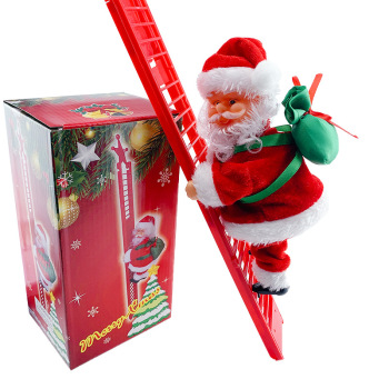 Santa Claus Climbing Ladder Electric Santa Claus Doll Christmas Tree Hanging Ornament Outdoor Indoor Door Wall Decoration