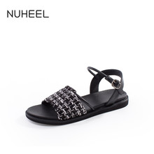 NUHEEL Women's Shoes Art Retro Flat Houndstooth Sandals Summer Fashion Wild Word Buckle Lace-up Shoes Women обувь женская