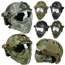 New Military Tactical Protective Helmet Airsoft Full Face Protection with Goggle Len Full Face Motorcycle Helmet 2019 airsoft helmet g4 system tactical pj military mesh helmet fullface kask with protective goggle face mask for war game