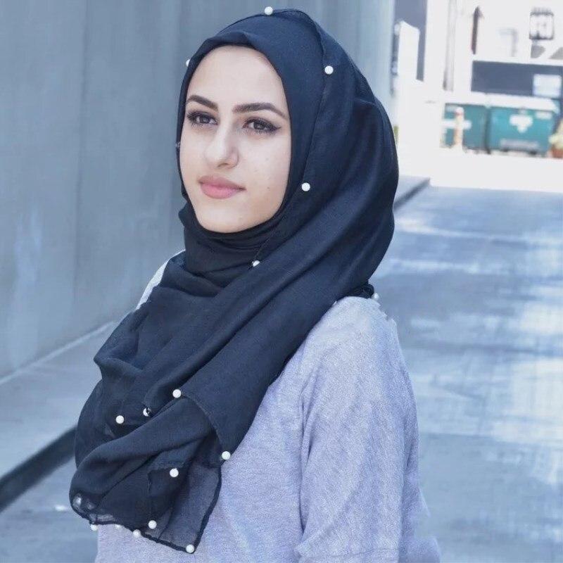 90*180cm Muslim Soft Cotton Hijab Scarf With Pearls Islamic Plain Shawls And Wraps Arab Headscarf Foulard Femme Musulman