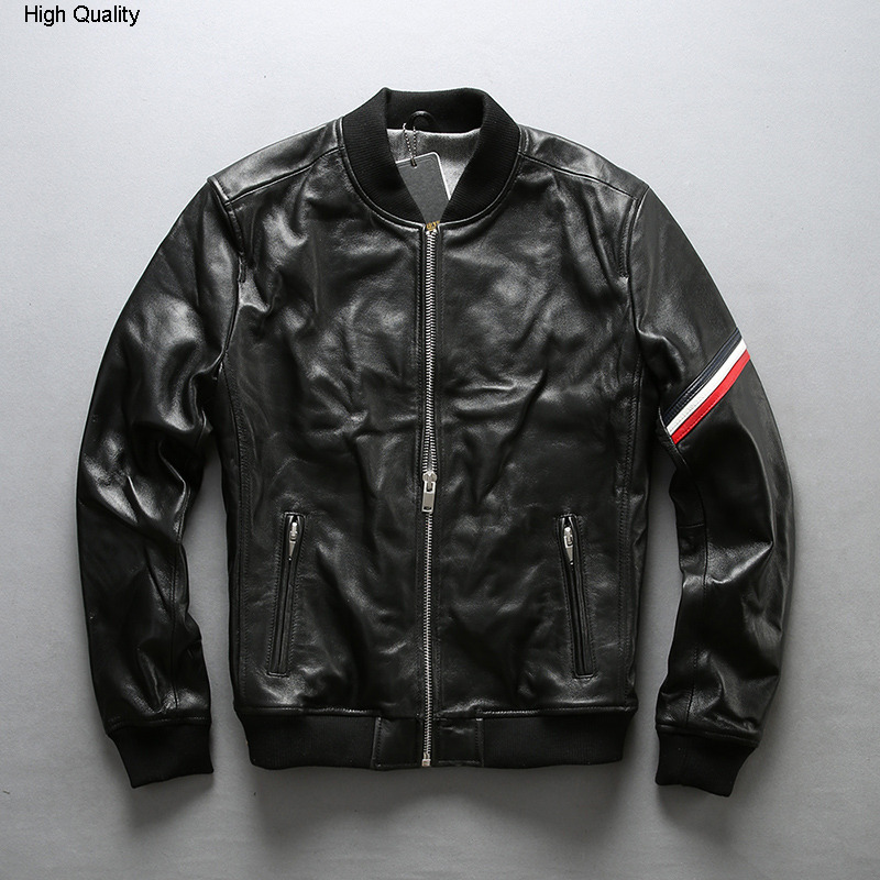 FLY Men's Slim Fit Baseball Uniform Black Sheepskin Genuine Leather Jacket Men Fashion Fold Real Leather Coat Male
