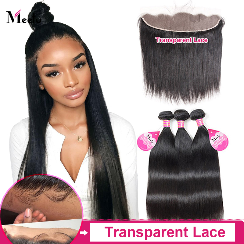 Meetu Straight Bundles With Closure Malaysian Human Hair Bundles With Frontal 13x4 Transparent Lace Frontal Non-Remy Hair
