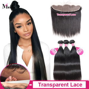 Meetu Straight Bundles With Closure Malaysian Human Hair Bundles with Frontal 13x4 Transparent Lace Frontal Non-Remy Hair(China)