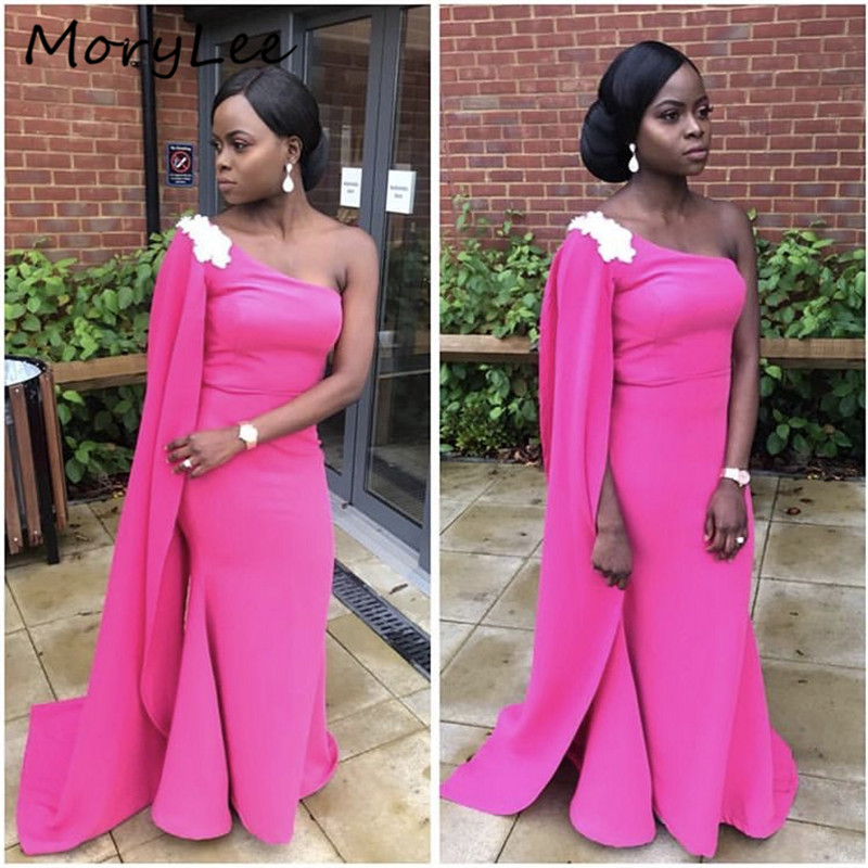 One Shoulder Bridesmaid Dresses With Cape African Special Fushcia Floor Length Mermaid Satin Wedding Party Bridemaid Dress