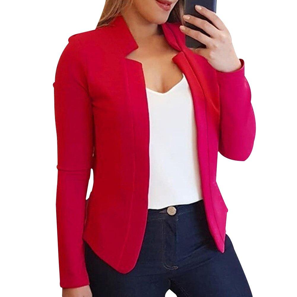 Women Blazer Thin Long Sleeve Blazer Solid Color Office Lady Suit Coat GDD99