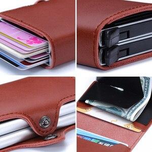 Image 5 - Couro genuíno titular do cartão de crédito dupla camadas rfid bloqueando carteira titular do cartão de identificação banco moda carteiras cartões de bolsa