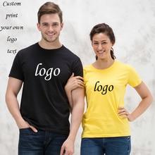 Kendi logo T-shirt baskı logo/resim/logo erkekler ve kadınlar rahat pamuklu kısa kollu gömlek t-shirt