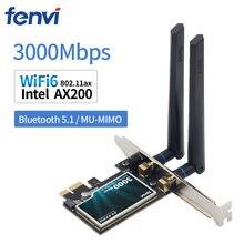 Wifi6 3000mbps desktop pcie wifi adaptador intel ax200 bluetooth 5.0 802.11ax banda dupla 2.4g/5ghz pci express cartão sem fio
