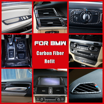 True Carbon Fiber Cup Decorative Navigation Frame Sticker Cover Trim For BMW E70 E71 X5 X6 2008-2013 Car Styling Accessories image