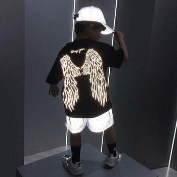 Modne t-shirty dla chłopców dziewcząt 3D wzór skrzydła Luminous krótkim rękawem T Shirt dzieci boże narodzenie nastoletnie dziewczynek chłopców topy 6 8 tanie i dobre opinie QLOVQL COTTON Europejskich i amerykańskich style Drukuj REGULAR O-neck Tees Pasuje prawda na wymiar weź swój normalny rozmiar